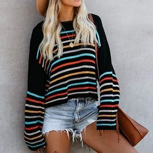 SALE! New Striped Rainbow Color Block Sweater
